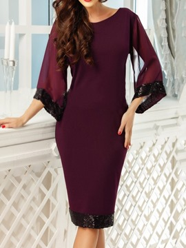 Ericdress Patchwork Sequins Flare Sleeve Round Neck OL Bodycon Dress