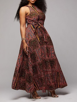 Ericdress African Fashion Floor-Length Round Neck Sleeveless A-Line Geometric Dress
