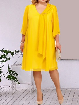 Ericdress Plus Size V-Neck Loose Knee-Length Plain Casual Yellow Dress