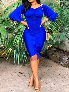 Ericdress Knee-Length Lantern Sleeve V-Neck OL Blue Bodycon Dress
