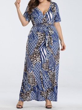 Ericdress Plus Size Print V-Neck Short Sleeve Pullover Fashion Dress