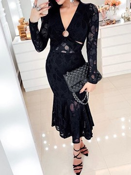 Ericdress Lace Mermaid Long Sleeve Hollow V-Neck Sexy Regular Dress