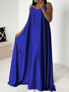 Ericdress Floor-Length Sleeveless High Waist Spaghetti Strap Casual Blue Dress