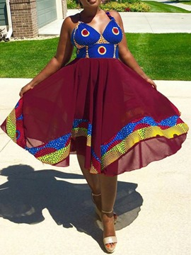 Ericdress African Fashion Patchwork A-Line V-Neck Mid-Calf Color Block Dress
