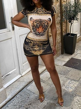ericdress impression manches courtes col rond au-dessus du genou robe bodycon animal