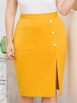 Ericdress Plus Size Knee-Length Split Plain High Waist Skirt