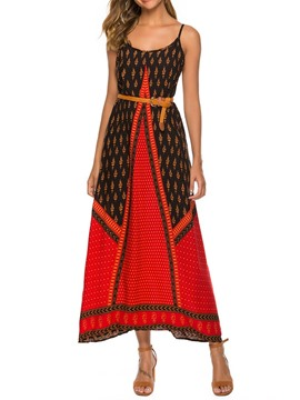 Ericdress Mid-Calf Print Sleeveless Spaghetti Strap Ethnic Dress