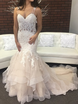 Ericdress Straps Tiered Appliques Mermaid Wedding Dress 2019