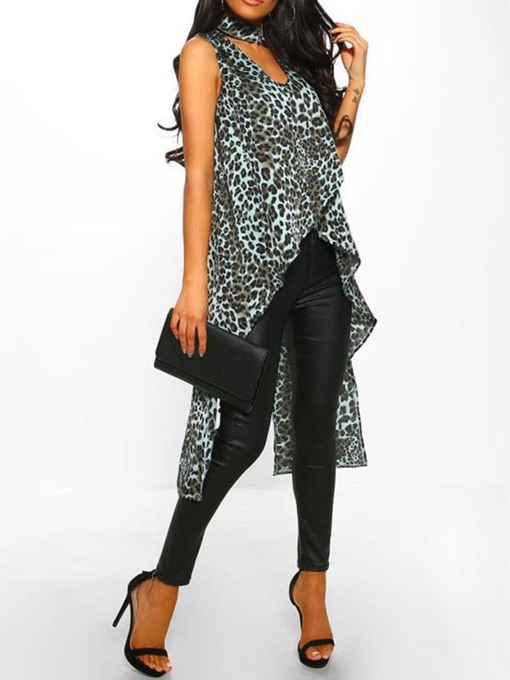 Ericdress Asymmetric Leopard Mid-Length Fashion Tank Top