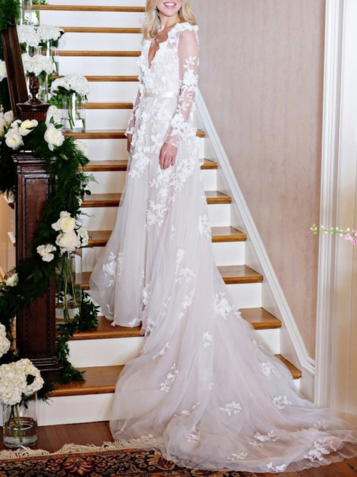 Ericdress 3D Floral Long Sleeves Church Wedding Dress