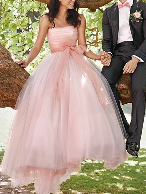 Ericdress A-Line Bowknot Strapless Outdoor Wedding Dress 2019