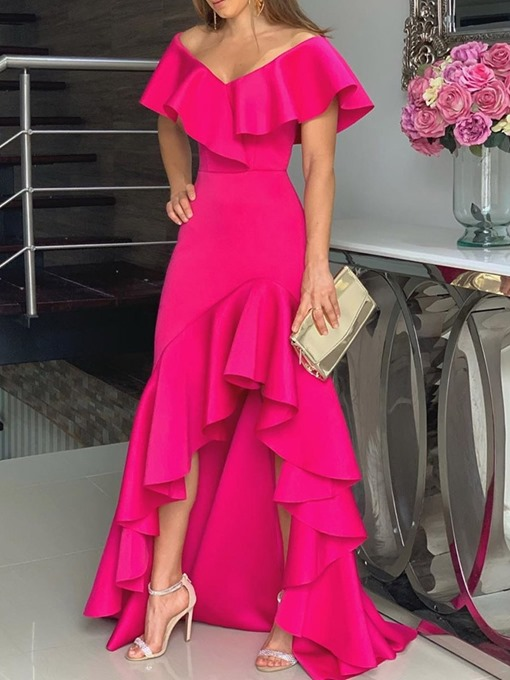 Ericdress Asymmetrical Ruffles Plain Off Shoulder Floor-Length Rose Maxi Dress