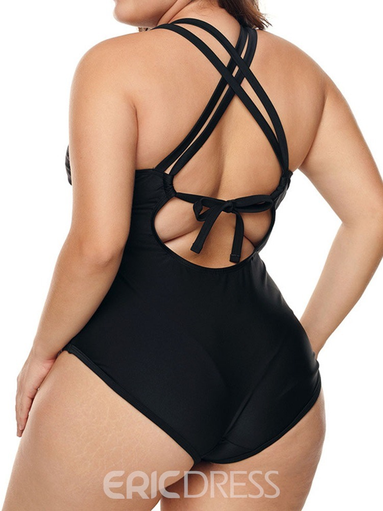 Ericdress Plus Size Patchwork Stretchy Lace-Up Sexy Swimwear