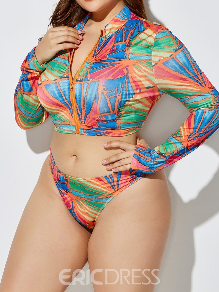 Ericdress Plus Size Zipper Color Block Stertchy Sexy Swimsuit