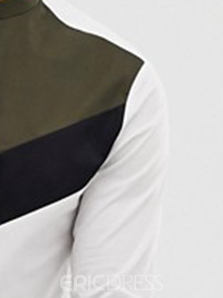 Ericdress Color Block Stand Collar Standard Men's Single-Breasted Shirt