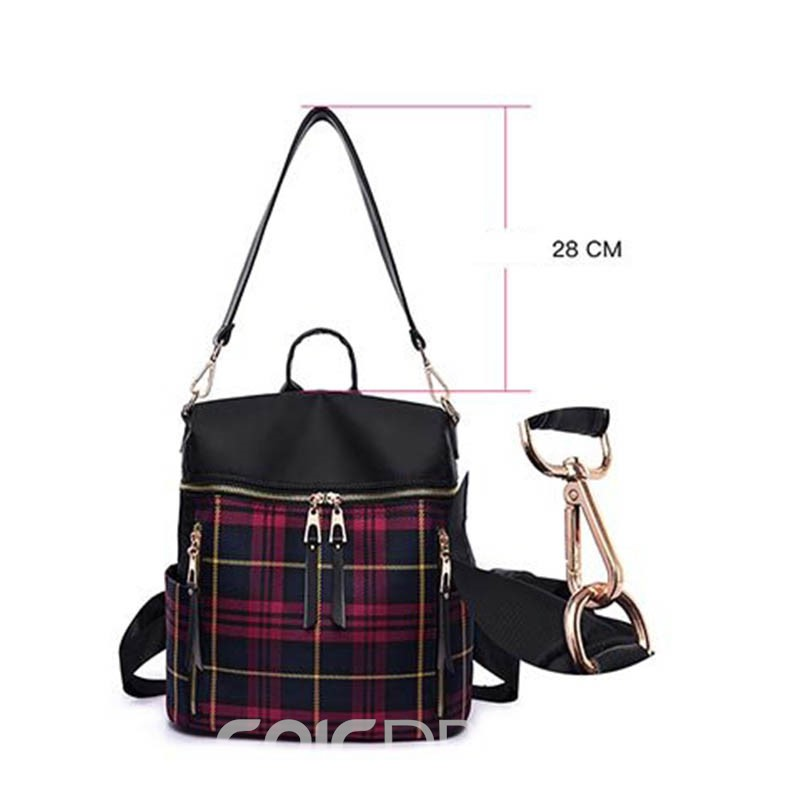 Ericdress Thread Plaid Nylon Grid Backpack