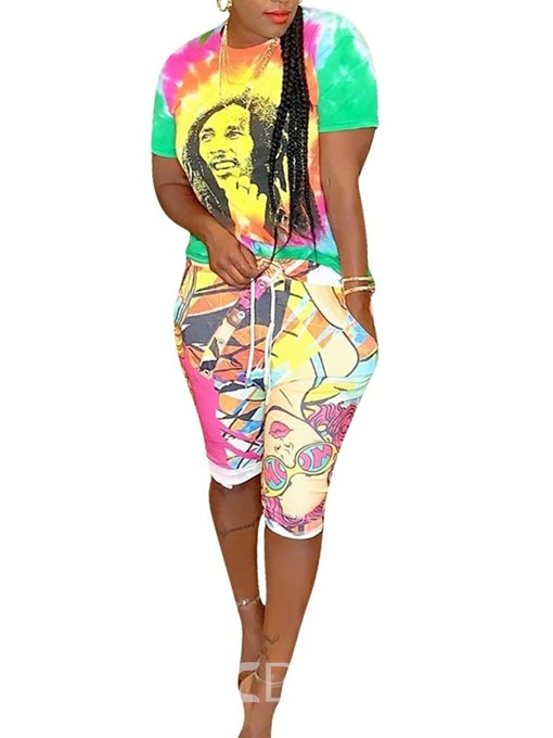 Ericdress Cartoon Print Casual Pullover Two Piece Sets