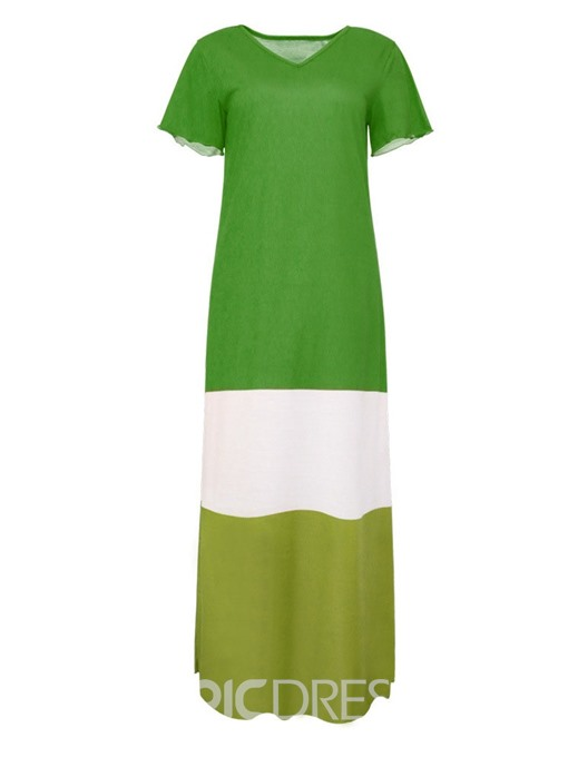 Ericdress Color Block Casual Short Sleeve V-Neck Patchwork A-Line Dress