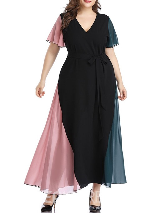 Ericdress Plus Size Color Block Mid-Calf Short Sleeve Patchwork A-Line Dress