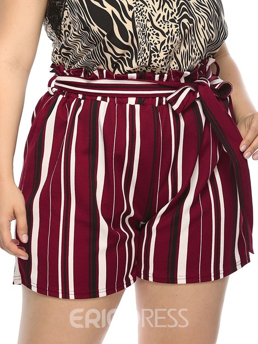 Ericdress Plus Size Stripe Straight Lace-Up Loose High Waist Shorts
