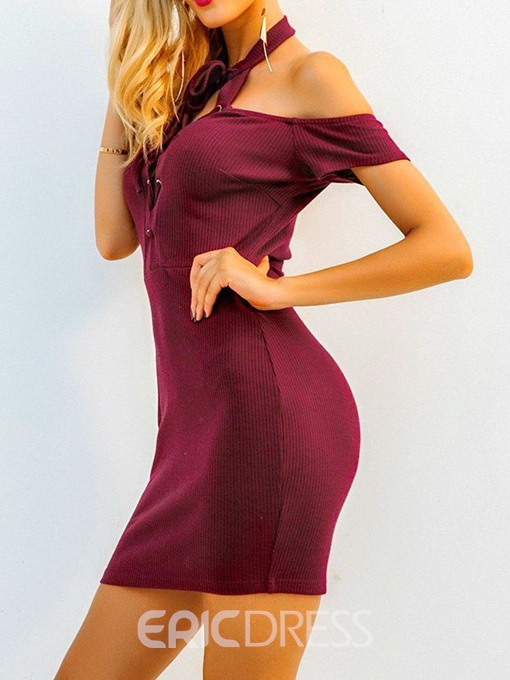 Ericdress Bodycon Above Knee Fashion Short Sleeve Lace-Up Sexy Dress