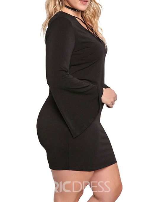 Ericdress Plus Size Flare SleeveV-Neck Above Knee Hollow Fashion Bodycon Dress