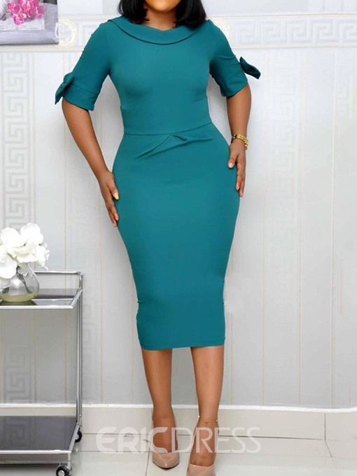 Ericdress Plain Half Sleeve Mid-Calf Mid Waist OL Pencil Dress