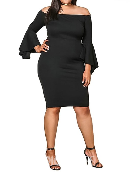 Ericdress Plus Size Flare Sleeve Off Shoulder Knee-Length Bodycon Dress
