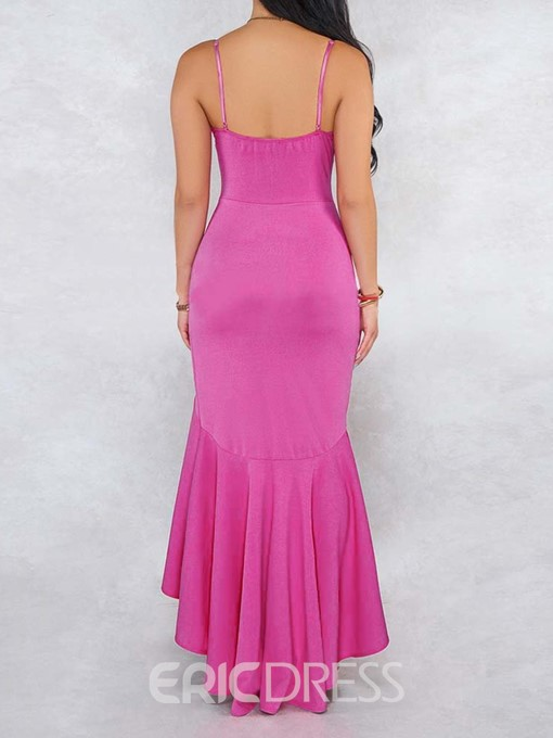 Ericdress Sleeveless Falbala Floor-Length Mid Waist Spaghetti Strap Dress