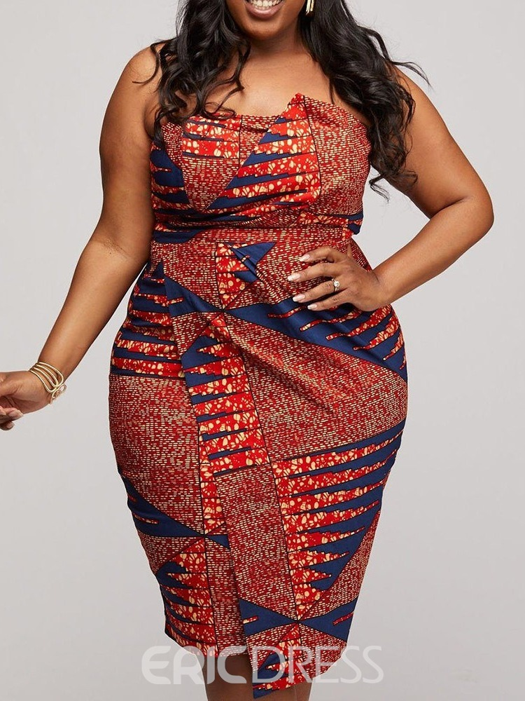 Ericdress Plus Size African Fashion Knee-Length Strapless Bodycon Dress