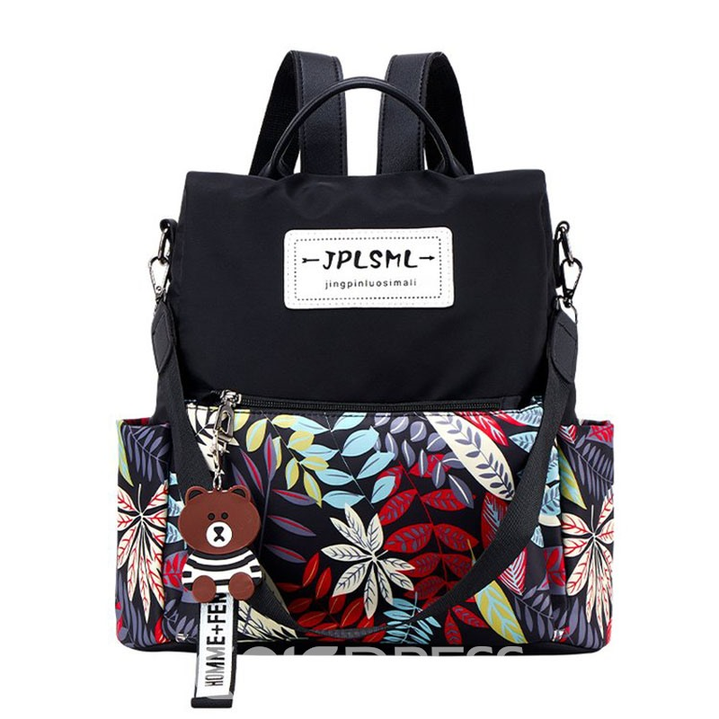 Ericdress Camouflage Leaves Oxford Print Floral Backpack