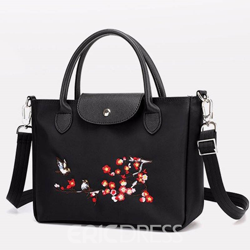 Ericdress Embroidery PU Floral Embroidery Tote Bag