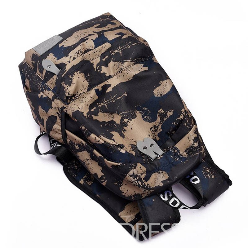 Ericdress Dark Color Print Nylon Camouflage Backpack
