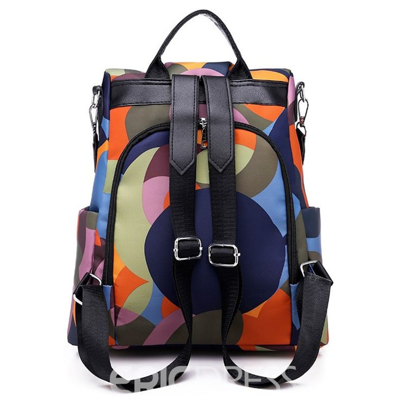 Ericdress Color Block Geometry Oxford Backpack