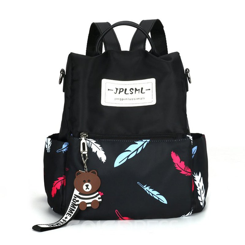 Ericdress Leaves Print Oxford Backpack