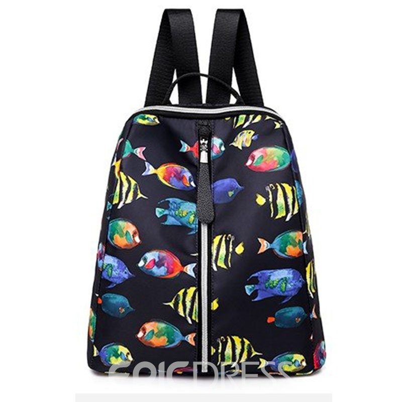 Ericdress Fish Print Oxford Backpack