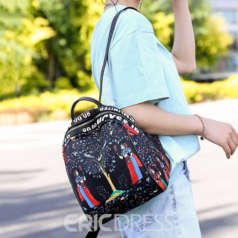 Ericdress Elephant Print Thread Oxford Cartoon Backpack