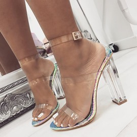 Ericdress PVC Open Toe Chunky Heel Women's Sandals