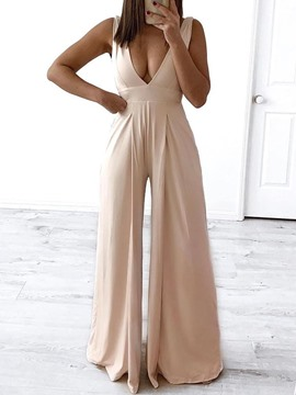 Ericdress Wide Legs Full Length Plain Sexy Slim Light Apricot Jumpsuit