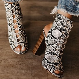 Ericdress Serpentine Lace-Up Peep Toe Chunky Heel Women's Sandals