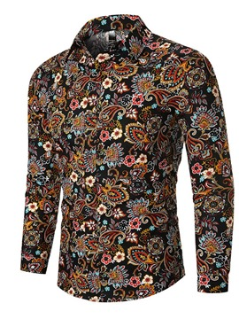 Ericdress Casual Floral Lapel Men's Single-Breasted Shirt