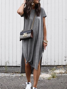 Ericdress Casual Round Neck Split Mid-Calf Plain Straight Dress