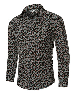 Ericdress Lapel Button Casual Single-Breasted Men's Slim Shirt