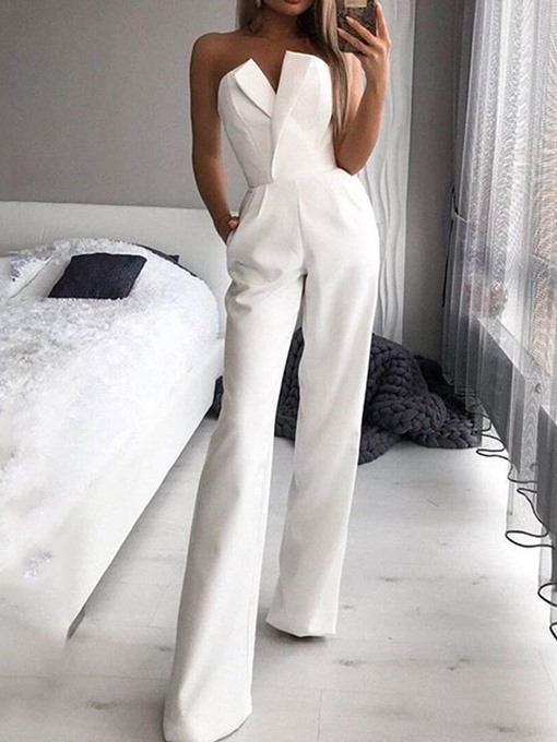 Ericdress Strapless Plain Full Length Mid Waist Slim White Jumpsuit