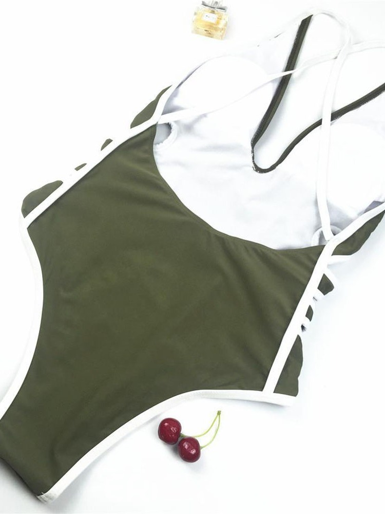 Ericdress One Piece Color Block Hollow Sexy Swimwear