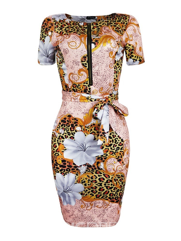 Ericdress Print Mid-Calf Short Sleeve Round Neck Bodycon Fashion Dress