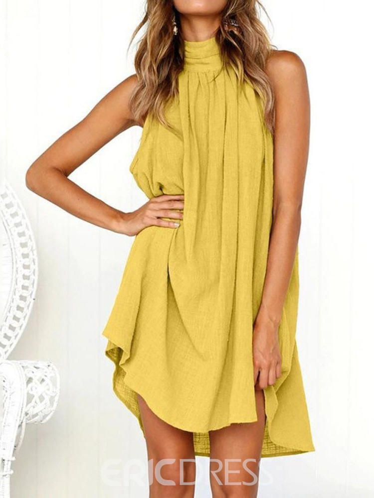 Ericdress Casual Sleeveless Above Knee Backless High Waist Plain Dress