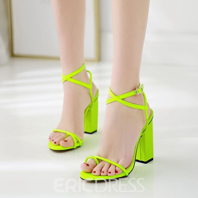 Ericdress PU Toe Ring Ankle Strap Buckle Chunky Heel Women's Sandals