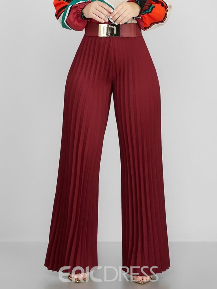 Ericdress Pleated Loose Plain Full Length Wide Legs Pants