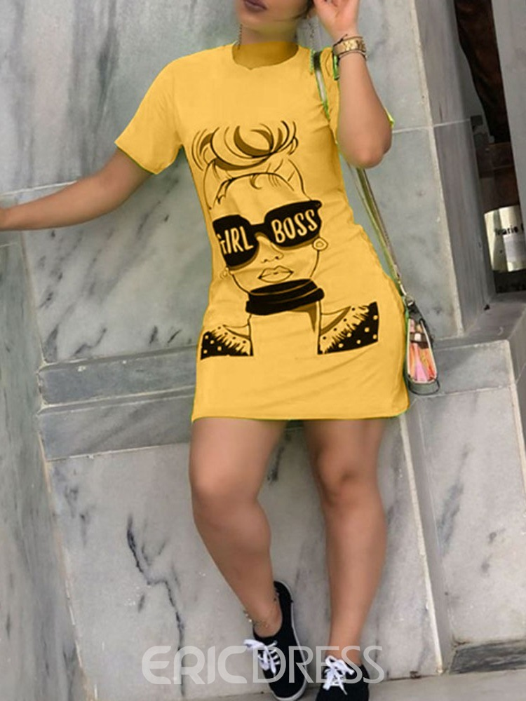 Ericdress Short Sleeve Round Neck Above Knee Casual Bodycon Dress